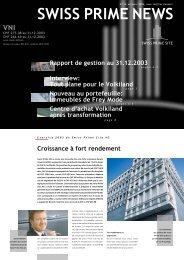 Croissance à fort rendement Rapport de gestion ... - Swiss Prime Site