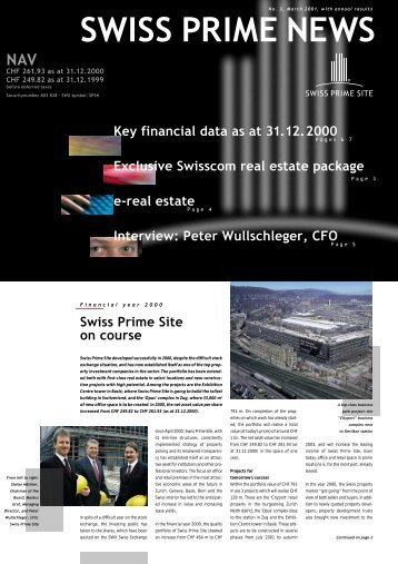 e-real estate Key financial data as at 31.12.2000 ... - Swiss Prime Site