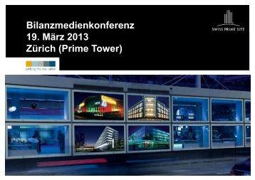 Präsentation Jahresergebnis per 31.12.2012 - Swiss Prime Site