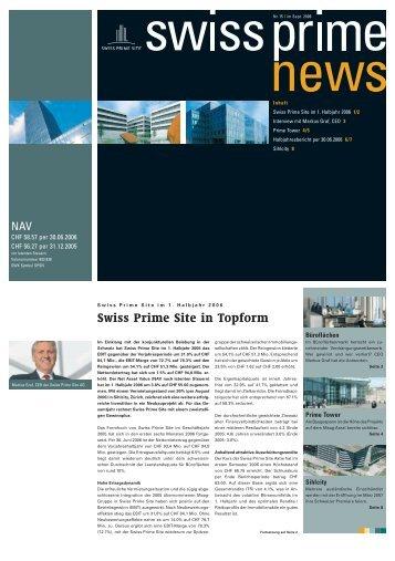 Swiss Prime News Nr. 15, September 2006 - Swiss Prime Site