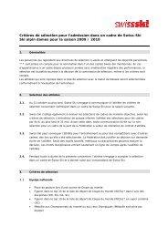 Critères de sélection pour l'admission dans un cadre de Swiss-Ski ...