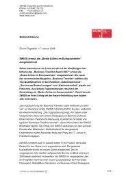"""SWISS erneut als """"Beste Airline im Europaverkehr"""" ausgezeichnet"""