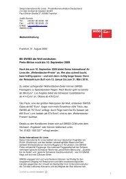 SWISS Preis-Aktion noch bis 10. September 2009