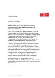 20.01.2011: Weitere Erhöhung des Flugangebots ab Hamburg - Swiss