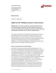 27.10.2011: SWISS mit CHF 159 Millionen Gewinn im dritten Quartal