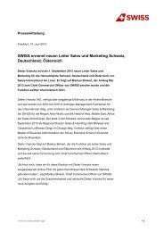 SWISS ernennt neuen Leiter Sales und Marketing Schweiz ...