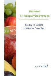 Protokolle 2013 - Swisscofel