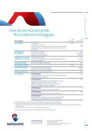 Liste de prix EconomyLINE. Raccordement analogique. - Swisscom