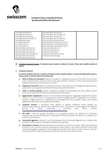 Condizioni d'Uso e Contratto di licenza per Microsoft ... - Swisscom