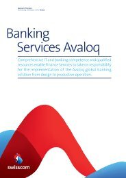 Factsheet Avaloq Banking Services - Swisscom
