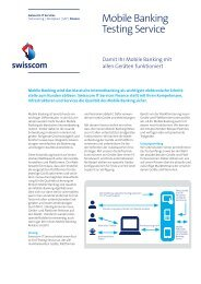 Factsheet Mobile Banking Testing Service - Swisscom