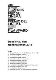 Nominationsdossier Schweizer Filmpreis 2013 PDF - Swiss Films