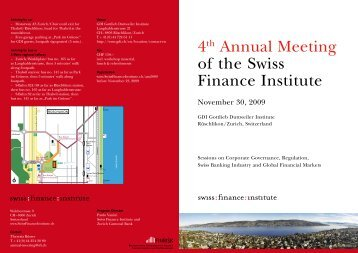 4th Annual Meeting of the Swiss Finance Institute