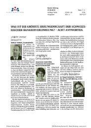 Basler Zeitung - Swiss Finance Institute