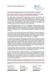 press release deutsch - Swiss Finance Institute