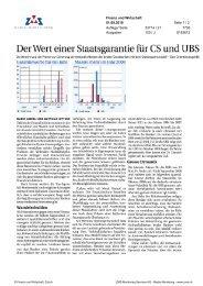 Der Wert einer Staatsgarantie fuer CS und UBS - Swiss Finance ...