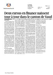 Deux cursus en finance naissent - Swiss Finance Institute