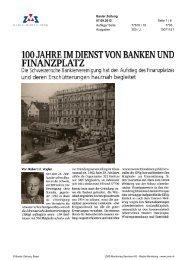 Basler Zeitung: 100 Jahre im Dienst von Banken und Finanzplatz