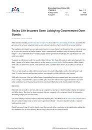 Swiss Life Insurers Seen Lobbying Government Over Bonds