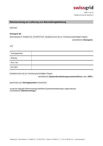 Rahmenvertrag 50hertz