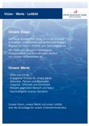 Vision, Werte und Leitbild - Swiss Holiday Park