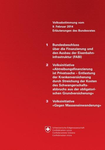 Erläuterungen des Bundesrates - Schweizerische Bundeskanzlei