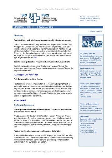 Newsmail 42/2012 - Schweizerischer Israelitischer Gemeindebund