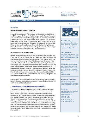 Newsmail 54/2013 - Schweizerischer Israelitischer Gemeindebund