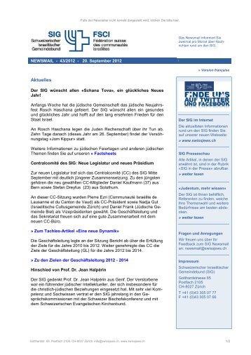 Newsmail 43/2012 - Schweizerischer Israelitischer Gemeindebund