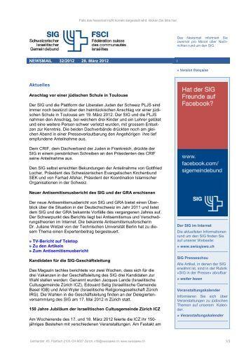 Newsmail 32, 28.03.2012 - Schweizerischer Israelitischer ...