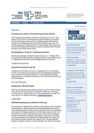 Newsmail 44/2012 - Schweizerischer Israelitischer Gemeindebund