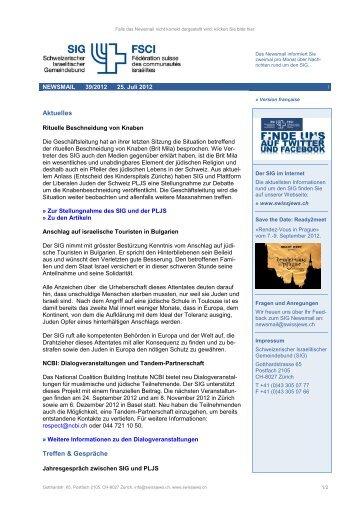 Newsmail 39/2012 - Schweizerischer Israelitischer Gemeindebund