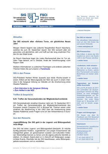 Newsmail 21/2011 - Schweizerischer Israelitischer Gemeindebund