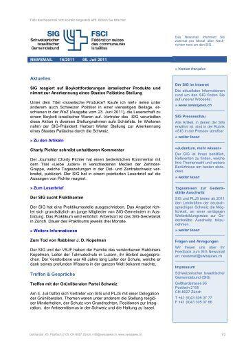 Newsmail 16/2011 - Schweizerischer Israelitischer Gemeindebund