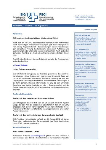 Newsmail 41/2012 - Schweizerischer Israelitischer Gemeindebund