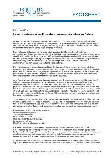 La reconnaissance publique des communautés juives en Suisse