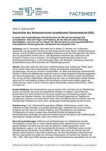 FACTSHEET - Schweizerischer Israelitischer Gemeindebund
