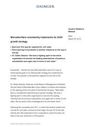 Mercedes-Benz consistently implements its 2020 growth ... - Daimler