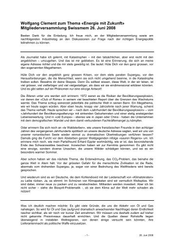 Wolfgang Clement zum Thema Â«Energie mit Zukunft ... - Swissmem