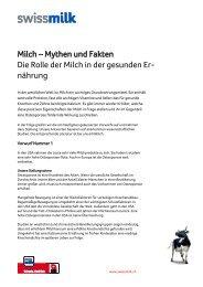 Milch – Mythen und Fakten Die Rolle der Milch in der ... - Swissmilk
