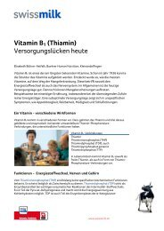 Vitamin B1 (Thiamin). Versorgungslücken heute - Swissmilk