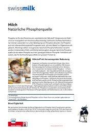 Milch: Natürliche Phosphorquelle - Swissmilk