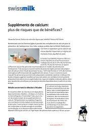 Suppléments de calcium: plus de risques que de ... - Swissmilk