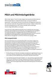 Milch und Milchmischgetränke - Swissmilk