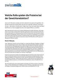 Welche Rolle spielen die Proteine bei der ... - Swissmilk