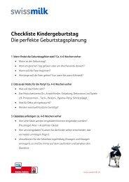 Checkliste und Planungshilfe für den Kindergeburtstag ... - Swissmilk