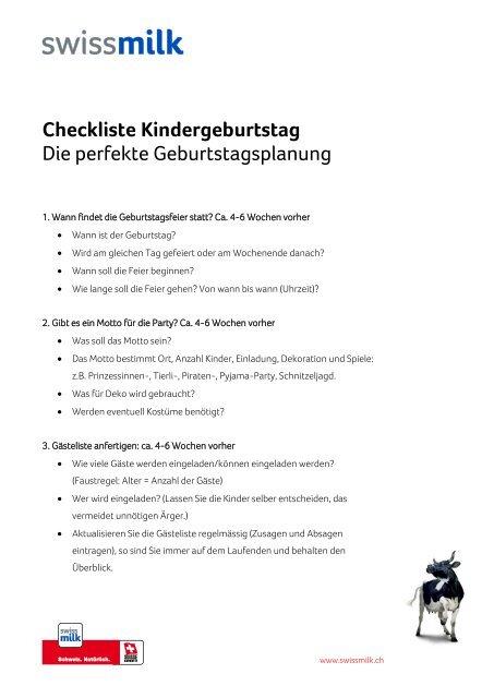 Checkliste Und Planungshilfe Fa R Den Kindergeburtstag Swissmilk