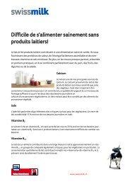Difficile de s'alimenter sainement sans produits laitiers! - Swissmilk