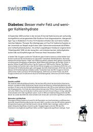 Diabetes: Besser mehr Fett und weni- ger Kohlenhydrate - Swissmilk