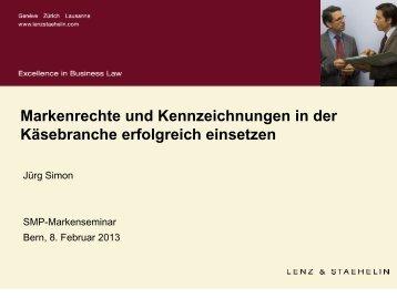 Markenrechte und Kennzeichnungen in der ... - Swissmilk